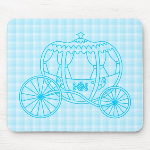 Fairytale Carriage Design in Turquoise Blue Mouse Pad