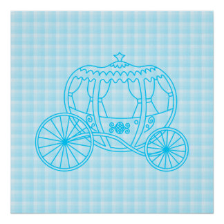 Fairytale Carriage Design in Turquoise Blue Poster