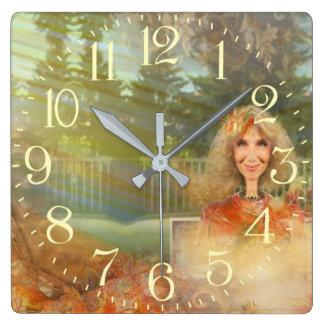 Fairytale Fall Square Wall Clock