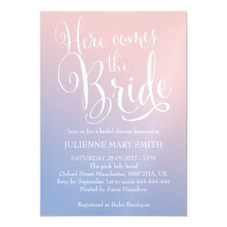 "Fairytale |  ""Here comes the bride"" Bridal Shower 13 Cm X 18 Cm Invitation Card"