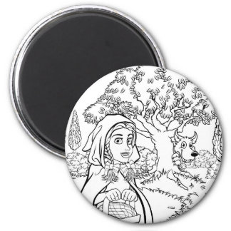 Fairytale Little Red Riding Hood Coloring Scene Magnet