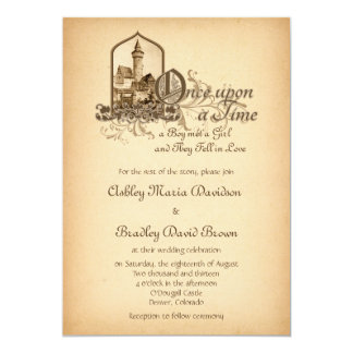 Fairytale Mediaeval Castle Once Upon Wedding 13 Cm X 18 Cm Invitation Card
