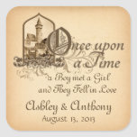 Fairytale Mediaeval Castle Once Upon Wedding Seal Square Stickers