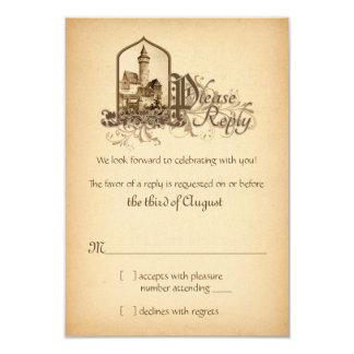 Fairytale Medieval Castle Once Upon Wedding RSVP 9 Cm X 13 Cm Invitation Card