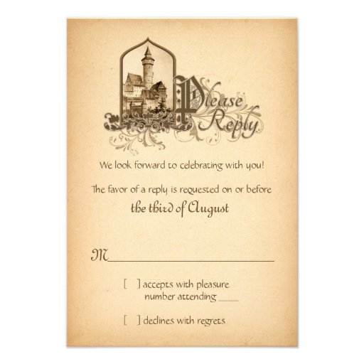 Fairytale Medieval Castle Once Upon Wedding RSVP Personalized Invite