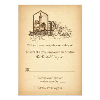 "Fairytale Medieval Castle Once Upon Wedding RSVP 3.5"" X 5"" Invitation Card"