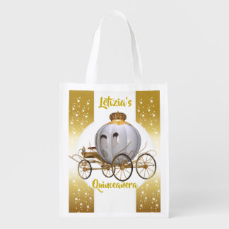 Fairytale Princess Carriage Quinceañera 15 años Reusable Grocery Bag