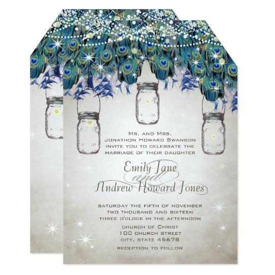 Fairytale Under the Star Forest Mason Jar  Peacock Card