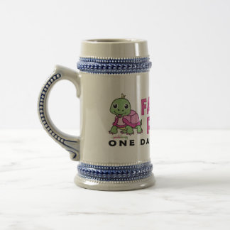 Faith an Patience: Breast Cancer Pink Green Turtle Beer Stein