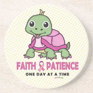 Faith an Patience: Breast Cancer Pink Green Turtle Beverage Coaster