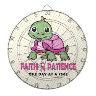 Faith an Patience: Breast Cancer Pink Green Turtle Dart Board