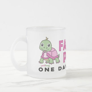 Faith an Patience: Breast Cancer Pink Green Turtle Frosted Glass Coffee Mug