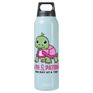 Faith an Patience: Breast Cancer Pink Green Turtle Insulated Water Bottle