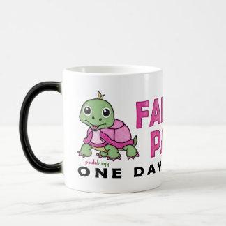 Faith an Patience: Breast Cancer Pink Green Turtle Magic Mug
