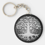 Faith and Hope Tree of Life Black and White Basic Round Button Key Ring