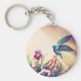 Faith Bird Basic Round Button Key Ring