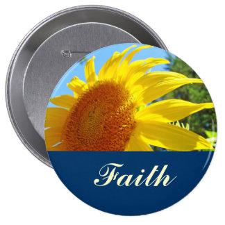 Faith buttons Blue Sky Yellow Sunflower