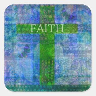 FAITH CROSS Meaningful Art Square Sticker