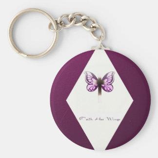 Faith Diamond Basic Round Button Key Ring