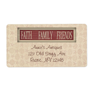 Faith Family Friends Business Label