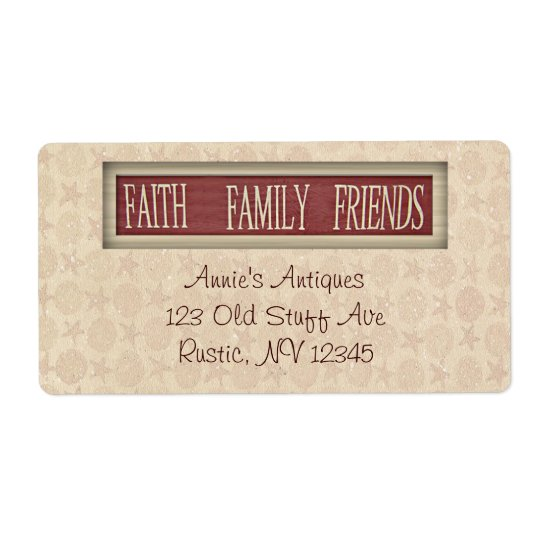 Faith Family Friends Business Label