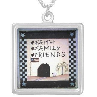 faith family friends square pendant necklace