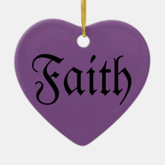 Faith Heart Shaped Christmas Ornament  - Purple