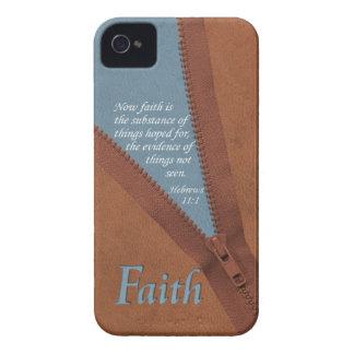 FAITH Hebrews 11:1 Bible Verse - Brown/Blue Zipper iPhone 4 Case-Mate Case
