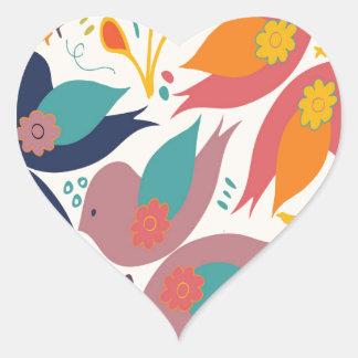 Faith Hope and Love Bird Print Heart Sticker