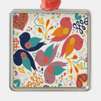 Faith Hope and Love Bird Print Silver-Colored Square Decoration