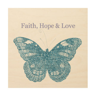 Faith, Hope and Love Butterfly Wood Canvases