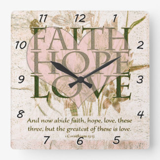 Faith, Hope and Love Square Wall Clock