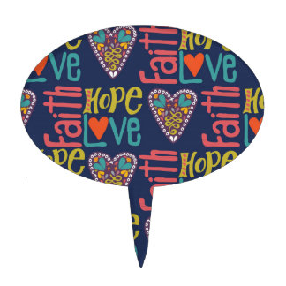 Faith Hope and Love Word Art Cake Toppers