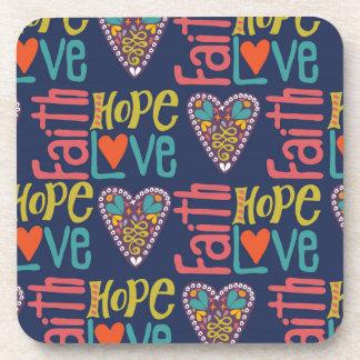 Faith Hope and Love Word Art Drink Coasters