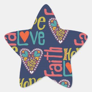 Faith Hope and Love Word Art Star Sticker