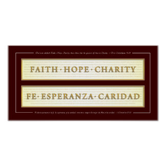 Faith, Hope, Charity in Spanish Poster