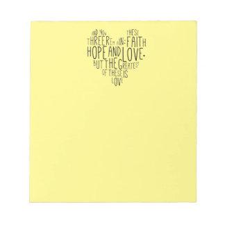 Faith Hope Love 1 Corinthians 13:13 Notepad