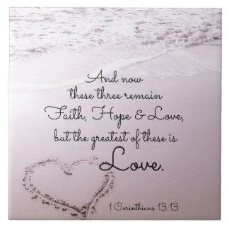 Faith Hope Love, 1 Corinthians 13:13, Ocean Beach Ceramic Tile