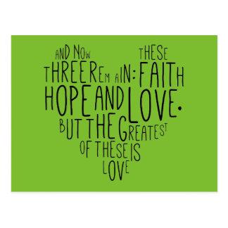 Faith Hope Love 1 Corinthians 13:13 Postcard