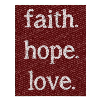 Faith Hope Love 1 Corinthians 13:4-7 Bible Quote Poster