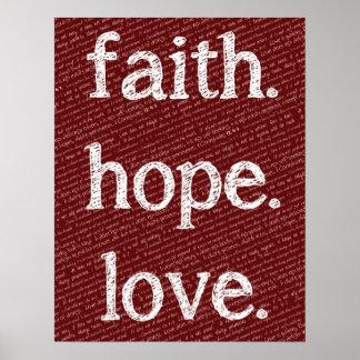 Faith Hope Love 1 Corinthians 13 4-7 Bible Quote Poster