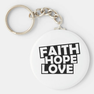 Faith Hope Love Basic Round Button Key Ring