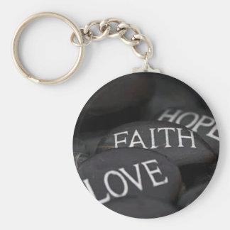 Faith, Hope, Love Basic Round Button Key Ring