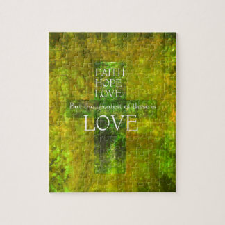 Faith Hope Love Bible Verse Jigsaw Puzzle