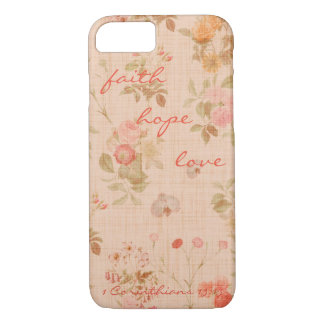 Faith, Hope, Love Bible Verse Quote Vintage Floral iPhone 8/7 Case