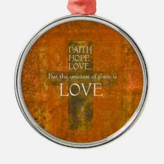 Faith Hope Love Bible Verse Silver-Colored Round Decoration