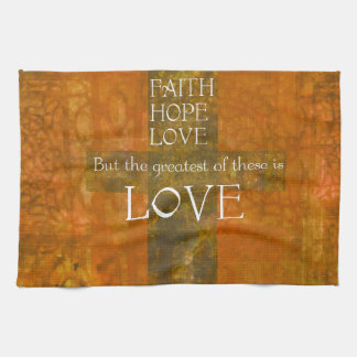 Faith Hope Love Bible Verse Tea Towel