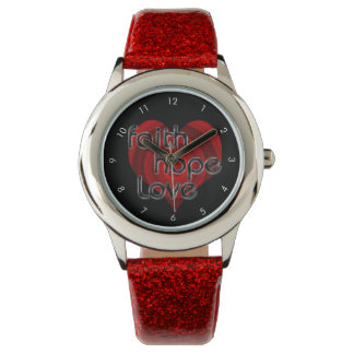 Faith Hope Love, Black/Red Heart Watch