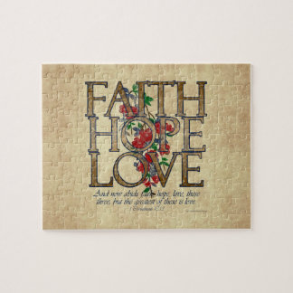 Faith Hope Love Christian Bible Verse Jigsaw Puzzle
