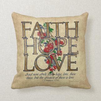 Faith Hope Love Christian Bible Verse Pillows